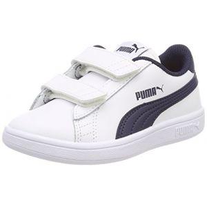 Puma Smash V2 L V PS, Sneakers Basses Mixte Enfant, Bleu White-Peacoat, 35 EU