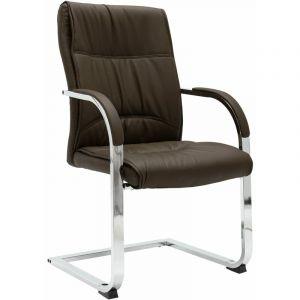 VidaXL Chaise de bureau cantilever Marron Similicuir