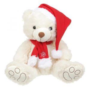 Peluc Ours de Noël 38 cm blanc