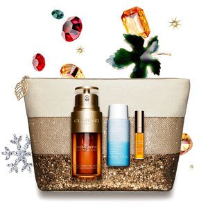 Clarins Collection Double Serum - Coffret double sérum, démaquillant Express yeux sensibles et Eclat Minute