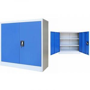 VidaXL Armoire de bureau Métal 90 x 40 x 90 cm Gris et bleu