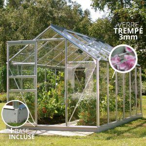 Jardimagine Serre en verre trempé 3mm Lams VENUS 7,40m² avec base - Alu
