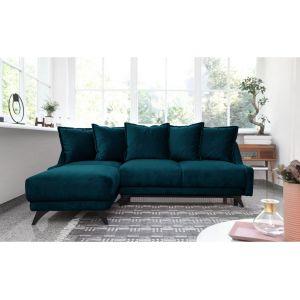 Bobochic NEW ENGLAND - Canapé angle gauche Convertible avec coffre bleu canard