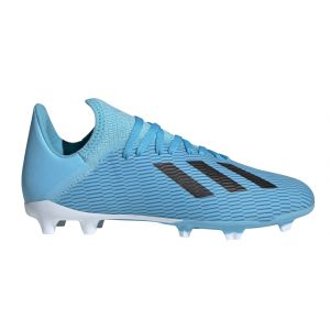 Adidas X 19.3 FG J, Chaussures de Football bébé garçon, Bleu Bright Cyan/Core Black/Shock Pink, 38 EU