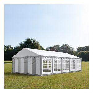 Intent24 Tente de réception 5 x 10 m PVC gris-blanc