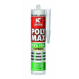 Griffon Colle de montage et mastic d'étanchéité POLY MAX FIX - SEAL EXPRESS - Cartouche 300 g - Crystal Clear