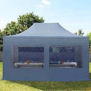 Intent24 Tente pliante 3x4,5 avec fenêtres panoramiques gris fonce PROFESSIONAL tente pliable ALU pavillon barnum.FR