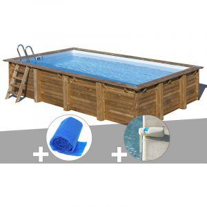 Sunbay Kit piscine bois Evora 6,00 x 4,00 x 1,33 m + Bâche à bulles + Alarme