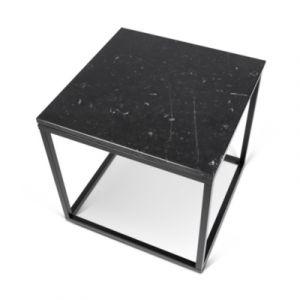 """TemaHome Table d'Ap 50cm """"Prairie"""" Marbre Noir & Métal Noir"""