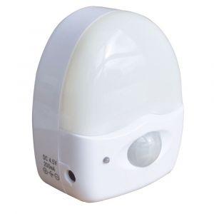 Tibelec 622130 Lampe Veilleuse à Pile Crépusculaire à Allumage Automatique avec Détecteur de Mouvement Blanc