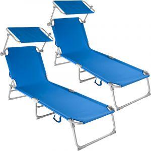 TecTake 2 Chaises longues de jardin, Transat, Bain de soleil, Pare Soleil, Multi positions, Pliables 190 cm Bleu