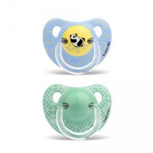 Suavinex 2 sucettes physiologiques Panda vert et bleu en silicone garçon 18 mois +