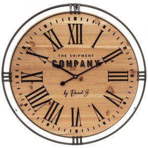 Atmosphera Pendule silencieuse en bois et métal D58 cm Colonial