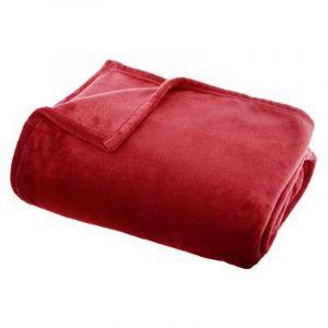 """Plaid Doux Uni """"Flanel"""" 130x180cm Rouge Prix"""