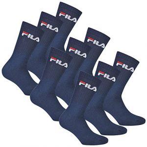 FILA 6 paires chaussettes, Chaussettes de tennis avec logo Ceinture, unisexe - Marine - 43-46