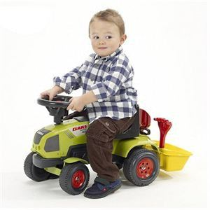 Falk Porteur Baby Tracteur Claas Axos + Benne + Accessoires