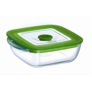 Pyrex Plat carré 4 en 1 en verre avec couvercle vapeur (17 cm)