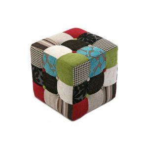 Versa Pouf Cube Patchwork Multicolore CLARENCE