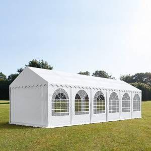 Intent24 Tente de réception 4x12 m - anti-feu H. 2,6m blanc PVC 550g/m² pavillon 100% imperméable.FR