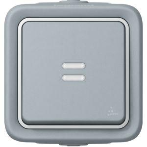 Legrand Plexo poussoir lumineux gris saillie