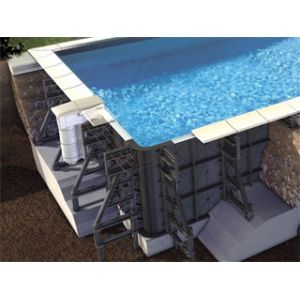 Proswell Kit piscine P-PVC 6.50x3.50x1.55m liner gris