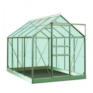 ACD Serre de jardin en polycarbonate Ivy - 5m², Couleur Vert, Base Sans base, Filet ombrage oui, Descente d'eau 2 - longueur : 2m57