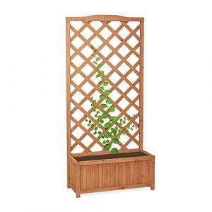 Relaxdays Jardinière avec treillis bac à fleurs treillage bois jardin pot plantes résistant 35 litres 150 cm, nature
