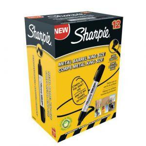 Sharpie Marqueur King Size corps en métal noir (pointe biseautée)