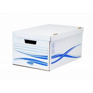 Fellowes 4460502 - Lot de 10 maxi containers à archives Flip Top Bankers Box Basic, coloris blanc/bleu