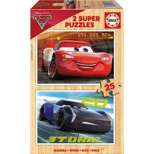 Educa Cars 3 Flash McQueen et Jackson Storm - Puzzle en bois 2 x 25 pièces