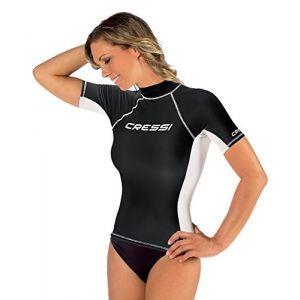 Cressi Rashguard Femme Haute de Combinaison en Tissu Très élastique spéciale - Manches Courtes - Protection Solaire UV (UPF) 50+ Noir XL/5-44