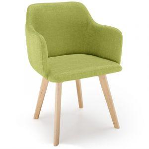 LesTendances Chaise Style Scandinave Tissu Vert Pistache SAGA
