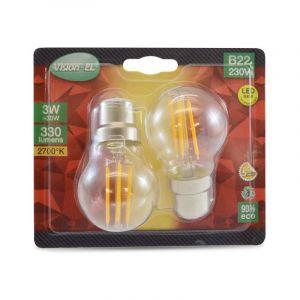 Vision-El LOT de 2 ampoules 3W LED FILAMENT (éq 30W) Culot B22 - 2700°K - Boule Ø45 -