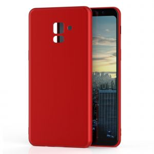CaseInk Galaxy A8 2018 Coque Housse Etui Silicone Opaque Antichocs Samsung Gel Tpu Rouge