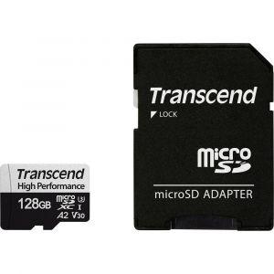 Transcend Premium 330S Carte microSDXC 128 Go Class 10, UHS-I, UHS-Class 3, v30 Video Speed Class Standard de puissance A2, avec adaptateur SD