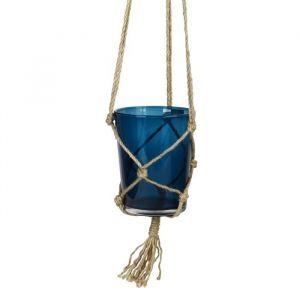 Suspension pot en verre - Avec corde en chanvre - Ø 13 x 16 cm - Bleu indigo