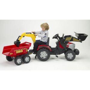 Falk Tracteur à pédales Mc Cormick avec pelle, excavatrice et remorque Dumper