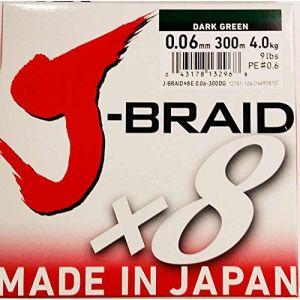 Daiwa J-Braid 8 Braid 0.06mm, 4,0kg/9,0lbs 300m vert foncé, ligne de pêche tressée ronde