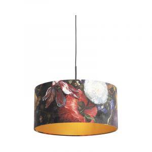 Qazqa Classique/Antique Suspension/Lustre/Luminaire/Lumiere/Éclairage avec abat-jour velours fleurs doré 50 cm - Combi Tissu/Acier Multicolore,Noir Cylindre/Oblongue/Rond E27 Max. 1 x 60 Wa