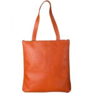 Dudu Sac Shopper à porter épaule pour femme en cuir véritable Grand et Spacieux avec fermeture éclair zip Orange