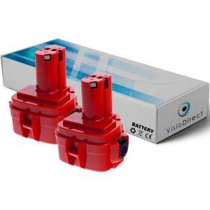 Visiodirect Lot de 2 batteries pour Makita UC120DWDE élageuse électrique 3000mAh 12V