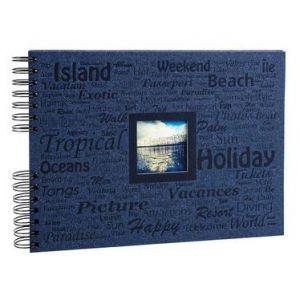 Exacompta 16518E - Album photos Momento 32x22 cm, 50p. noires/100 photos, reliure à spirales, bleu marine