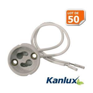 Kanlux Lot de 50 Douilles Culot GU10 pour Ampoule Halogène ou Led Marque ref 402