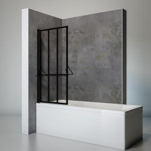 Schulte-ufer Pare baignoire pivotant avec tablette et porte-serviettes paroi de baignoire rabattable avec traitement anti calcaire écran de baignoire noir 1 volet pliant 75x140 cm Schulte