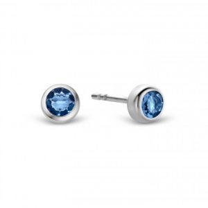 Ti sento Boucles d'Oreilles Indigo Impressions 7597DB - Boucles d'Oreilles puces Argent pierre Bleues foncé 6mm serties clos
