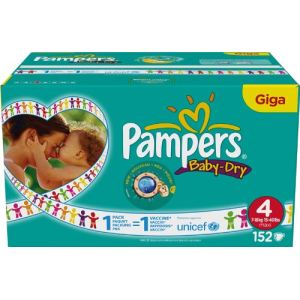 Pampers Baby Dry taille 4 Maxi (7-18 kg) - Giga pack x 152 couches