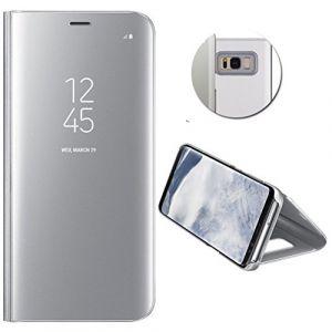 Coque Etui Housse Pour Samsung Galaxy S8 Case + Film De Protection Souple Clear View Etui À Rabat Cover Flip Case Miroir Antichoc Téléphone Portable Samsung Argent