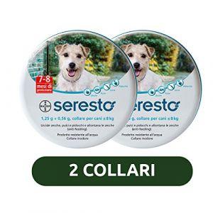 Bayer 2 colliers Seresto pour chiens jusqu'à 8kg, contre les puces et les tiques
