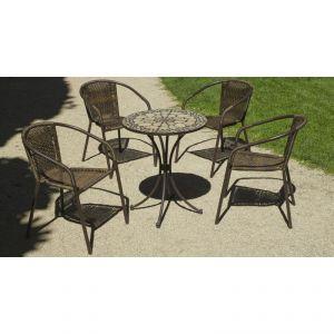 Hévéa Manila/Brasil - Table de jardin ronde 75 cm et 4 fauteuils