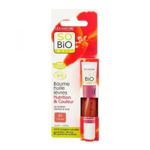 So'Bio Étic 01 Corail Satin - Baume huile lèvres Nutrition & Couleur